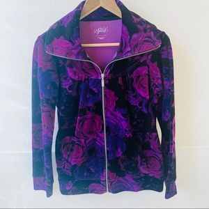 Style & Co Sport purple velour zip sweatshirt S